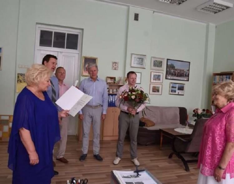 Sukakties proga merė pasveikino Marijampolės garbės pilietę Oną Sakalauskienę